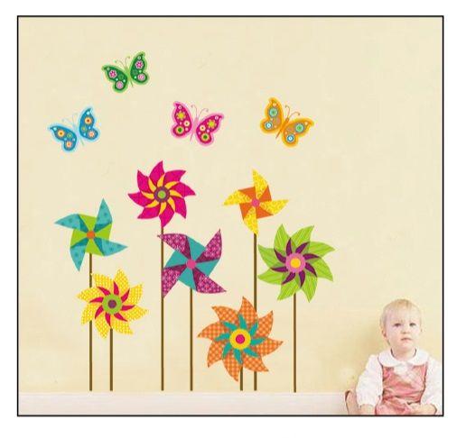 Muursticker Bloemen Vlinders ⋆ Muurstickers Kinderkamer