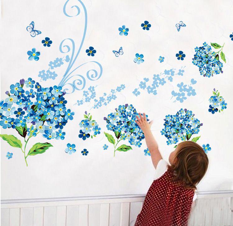 Muursticker Bloemen Blauw 1