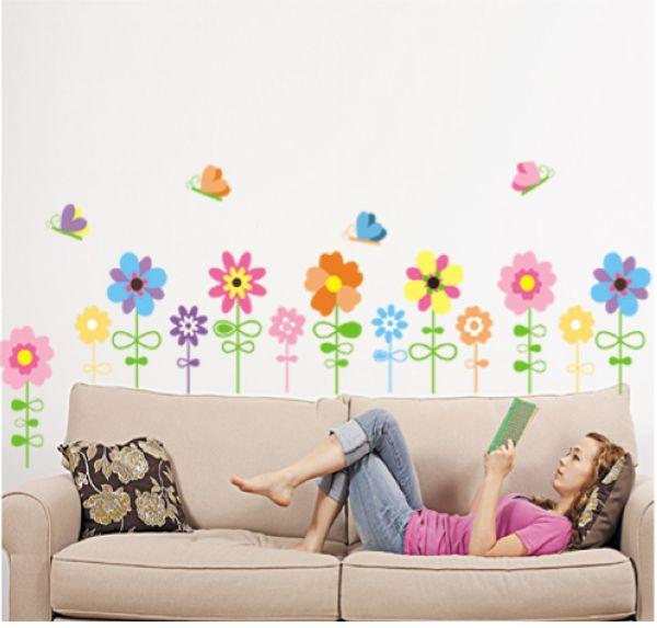 Muurstickers Bloemen en Vlinders