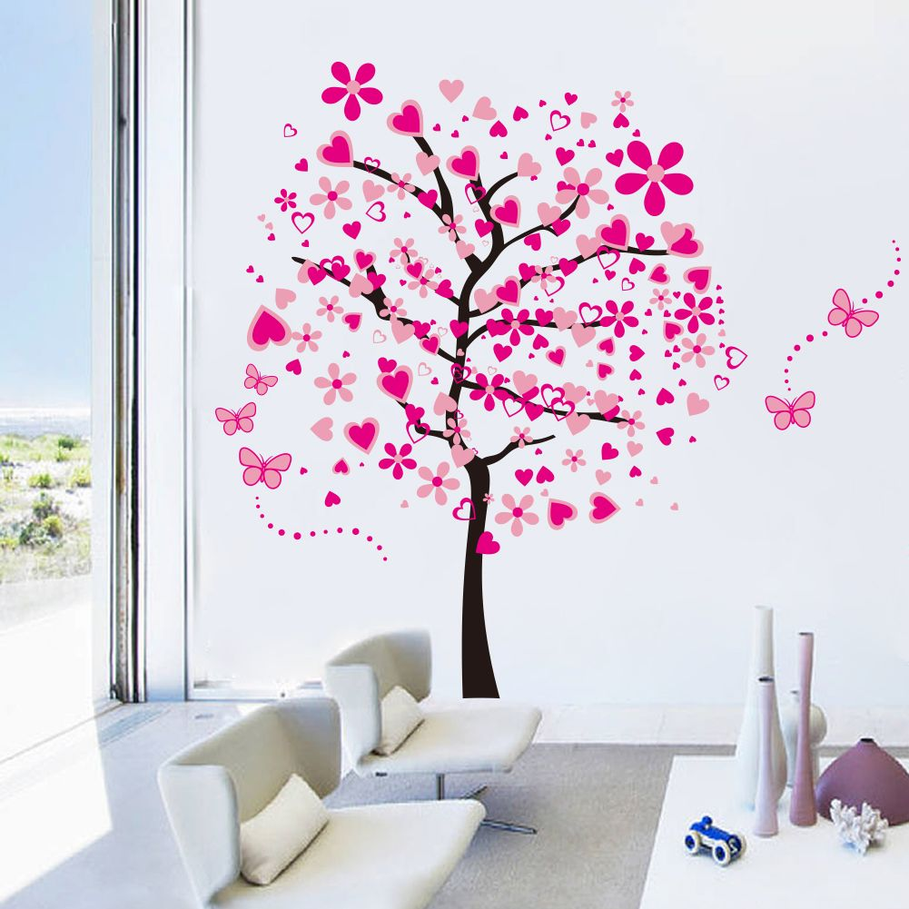 Muursticker roze boom muurstickers kinderkamer babykamer - Roze kinderkamer ...