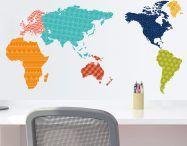 Muursticker Wereld Kleur